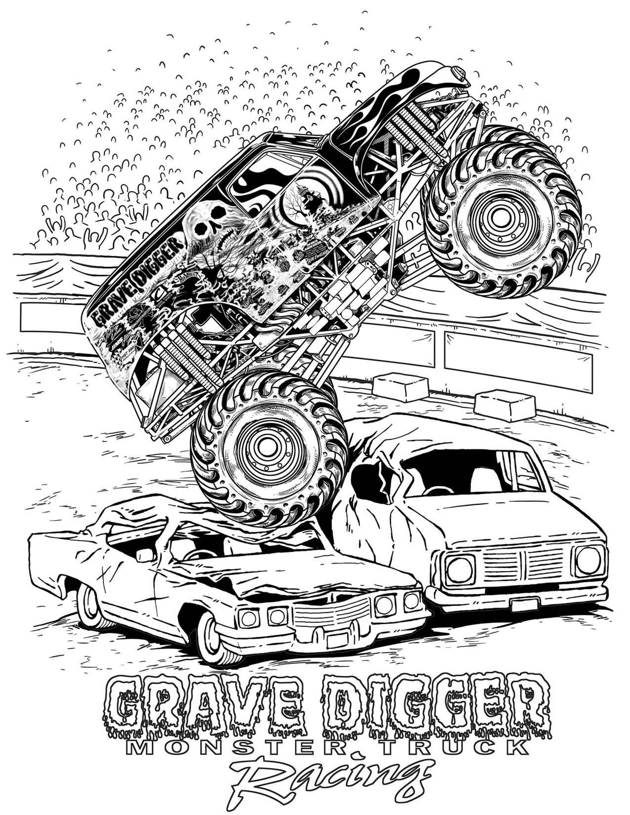 Monster Truck Coloring Pages Letscoloringpages Com Grave Digger