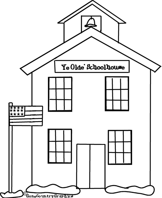 School House Coloring Pages Coloring For Kids House Free Printable