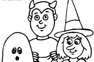 3 Kids Halloween Costumes Print Coloring Pages